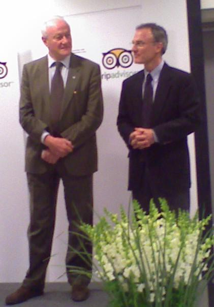 Francesco Bandarin, Directeur du Centre du patrimoine mondial de l'UNESCO et Steve Kaufer, fondateur et PDG de TripAdvisor.