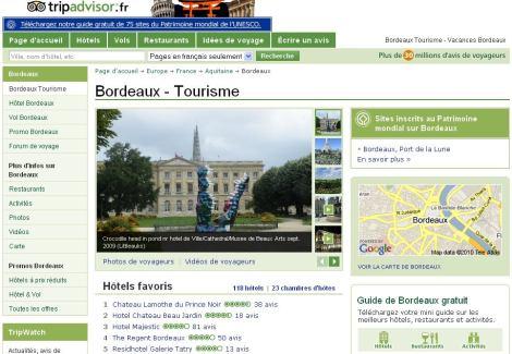 Page de destination sur TripAdvisor