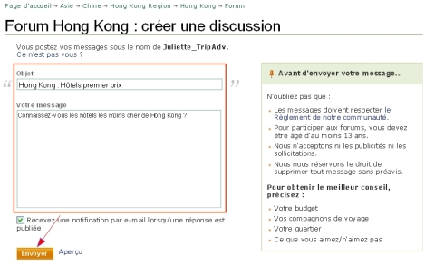 Page de question sur le forum de la destination